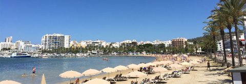 White sandy beaches of San Antonio and Ibiza